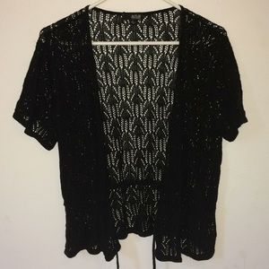 a.n.a black crochet draw string throw over top